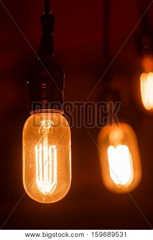 Vintage light bulbs with glower filament. Incandescent retro design.