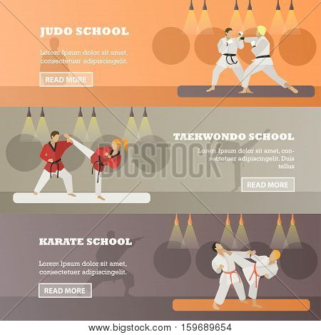Vector set of horizontal martial arts concept banners. Judo, Taekwondo, karate schools design elements in flat style. Martial arts fighters, place for text.