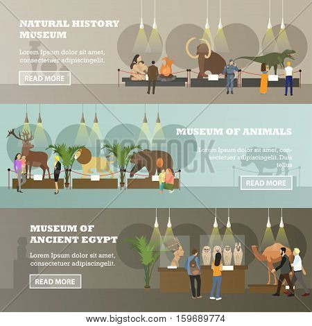 Vector set of horizontal banners with different kinds of museum expositions. Natural history museum, Museum of animals, Museum of ancient Egypt design elements in flat style.