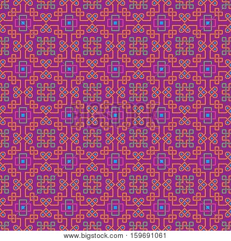 Ornate seamless pattern, interlaced lines. Bright, saturated colors. The swatch is included in vector file. Arabic style.