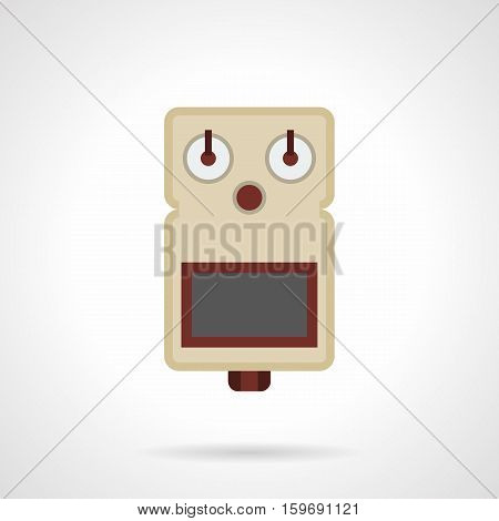 Professional musical equipment, devices and accessories. Guitar drive effect pedal symbol. Music store, concert and festival. Flat color style vector icon.