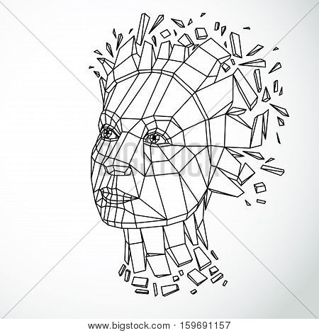 Vector Dimensional Low Poly Female Portrait, Graphic Illustration Of Human Head Broken Into Fragment