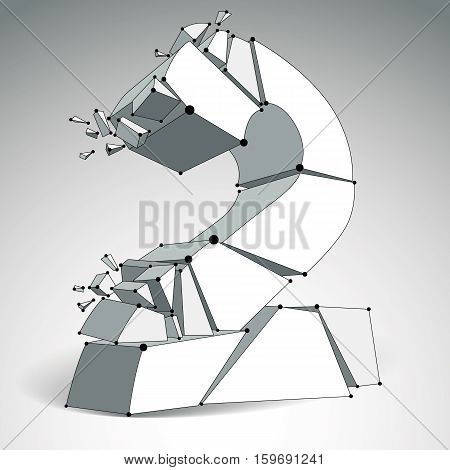 3D Vector Digital Wireframe Monochrome Number 2 Broken Into Different Particles, Geometric Polygonal