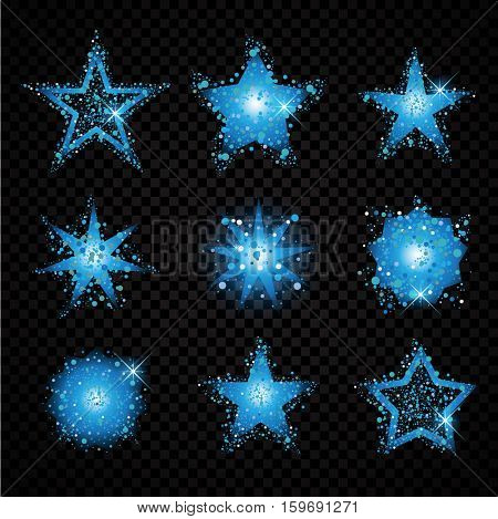 Blue glittering stars sparkling particles on transparent background. golden sparkles hallow tail. Vector glamour fashion illustration