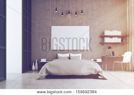 King Size Bed And A Study Corner In A Bedroom, Toned