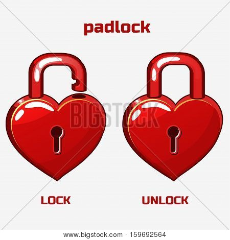 funny cartoon red padlock in heart shaped St. Valentine's Day object. Lock and unlock