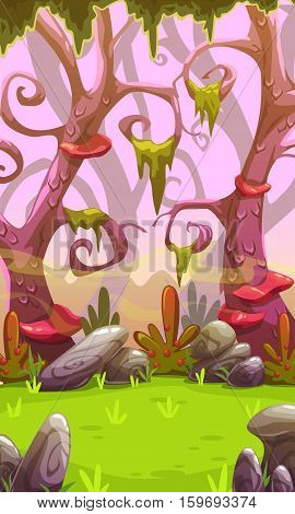 Fantasy cartoon forest landscape. Vertical nature background for mobile phone screen. Cool colorful outdoor illustration. Level location for game design.