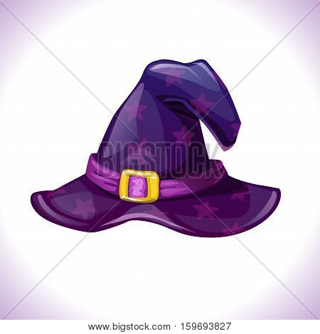 Cartoon witch hat icon. Isolated on white background. Element of wizard costume. Vector Halloween illustration.