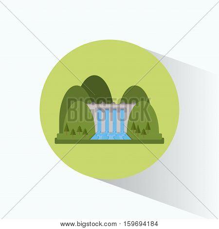 hydroelectricity plant generator energy landscape vector illustration eps 10