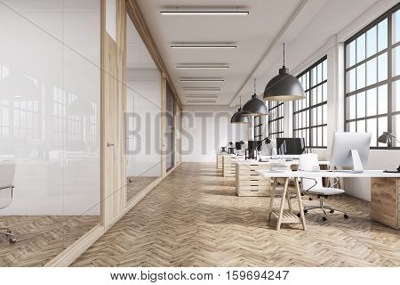 Front view of an office interior with a row of dark wood tables standing under large windows. Massive ceiling lamps. Computers. 3d rendering.