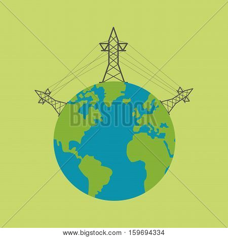 world tower electricity current vector illustration eps 10
