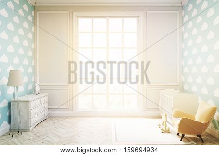 Child's Room With Cloud Wallpaper On Blue Wall, Toned