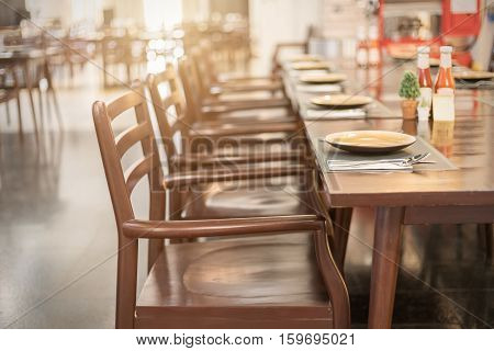 Empty table and chair in restaurant Interior of restaurant