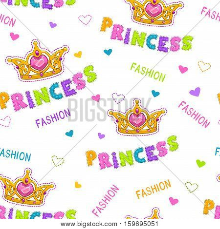 Cute seamless pattern for baby girls. Vector fancy tile for girlish wallpaper design. Fashion princess background.