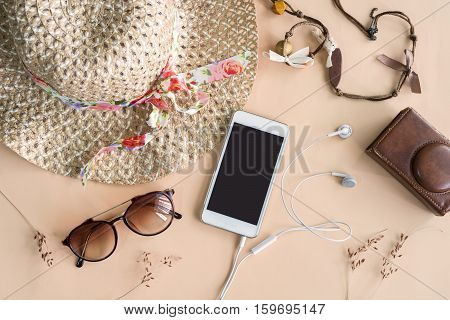 Fashion woman accessories isolated on color ackground Top view