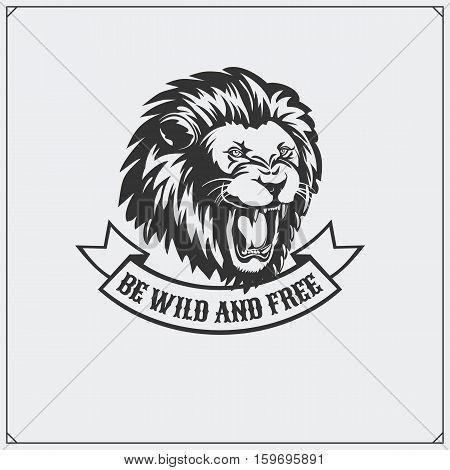 The emblem with lion. Vector monochrome illustration.