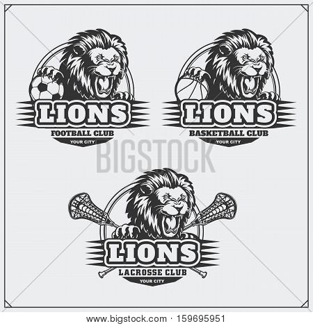 Football, baseball and hockey badges and labels. Sport club emblems with head of lion.