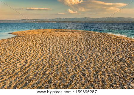 View at famous adriatic beach Golden Horn with sandy cape of the beach stretches into sea and changes direction with tides and the wind.