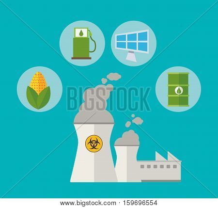 nuclear power alternative resouces energy vector illustration eps 10
