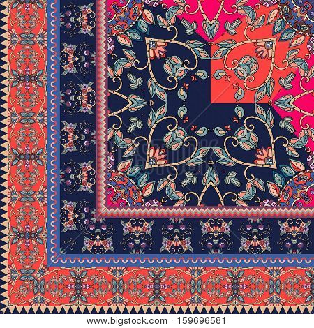 Quarter Of The Ethnic Bandana Print With Ornamental Border. Silk Neck Scarf With Beautiful Flowers A