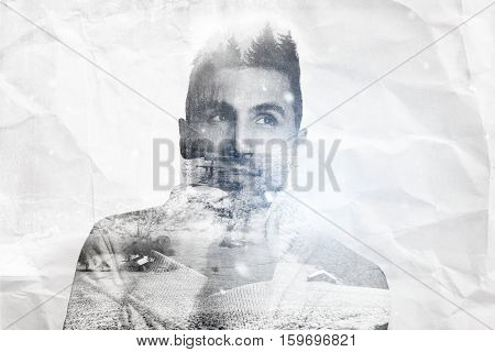 double exposure of atractive young man warm up with pullover and looking sideways