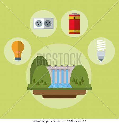 hydroelectric power station battery bulb ecology vector illustration eps 10