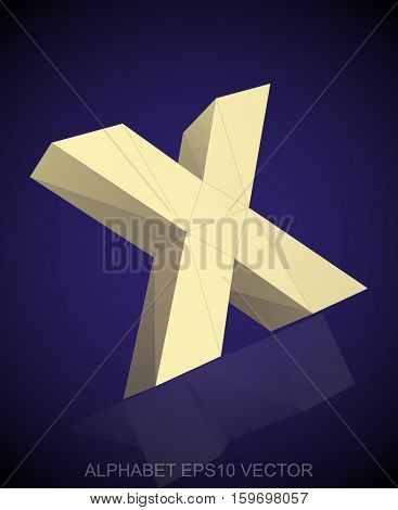 Abstract Yellow 3D polygonal lowercase letter X with reflection. Low poly alphabet collection. EPS 10 vector illustration.