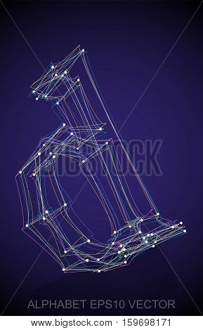 Abstract illustration of a Multicolor sketched lowercase letter D with Reflection. Hand drawn 3D D for your design. EPS 10 vector illustration.