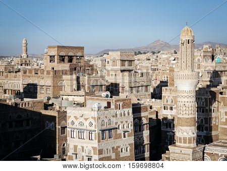 view of central sanaa city old town skyline traditional buildings in yemen