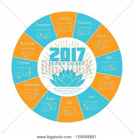 calendar ekadash for 2017 in a linear style in the form of a lotus flower