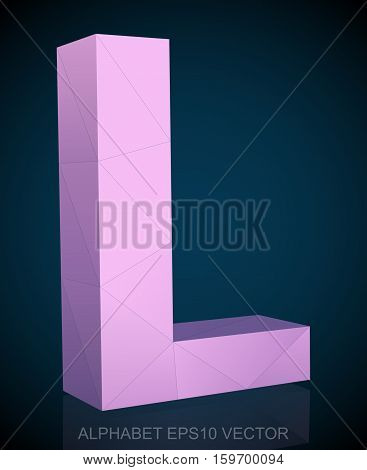 Abstract Pink 3D polygonal uppercase letter L with reflection. Low poly alphabet collection. EPS 10 vector illustration.