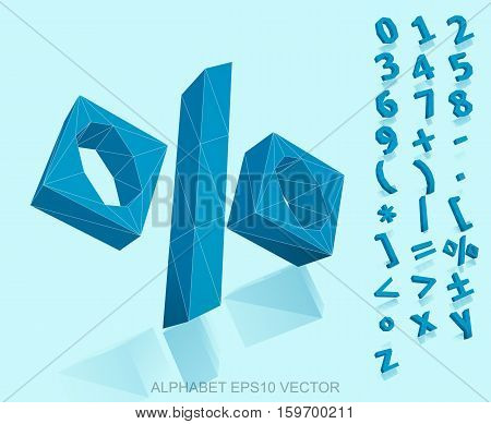 Set of Blue 3D polygonal Numbers And Mathematical Symbols with reflection. Low poly alphabet collection. EPS 10 vector illustration.