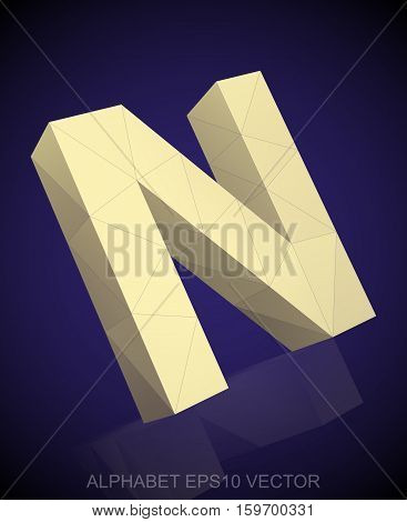 Abstract Yellow 3D polygonal uppercase letter N with reflection. Low poly alphabet collection. EPS 10 vector illustration.