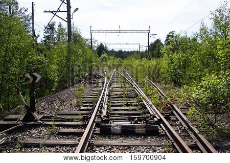 Old Rusty Railway Tracks With Wooden Sleepers