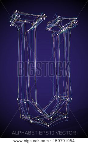 Abstract illustration of a Multicolor sketched uppercase letter U with Transparent Shadow. Hand drawn 3D U for your design. EPS 10 vector illustration.