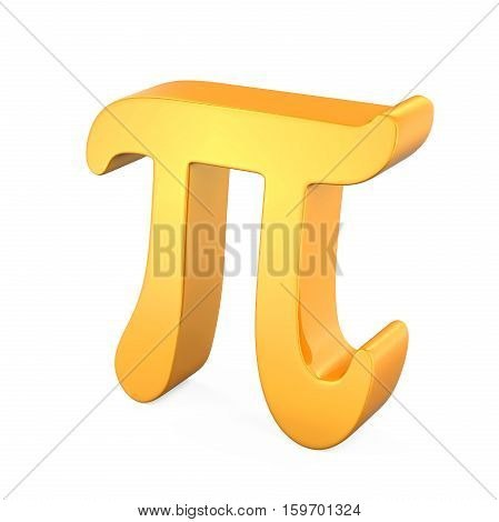 Golden Pi Symbol isolated on white background. 3D render