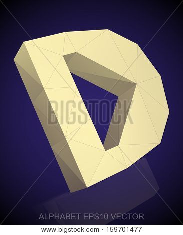 Abstract Yellow 3D polygonal uppercase letter D with reflection. Low poly alphabet collection. EPS 10 vector illustration.