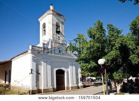 The white church of Saint Francis of Paula in the Carillo Square of Trinidad Cuba