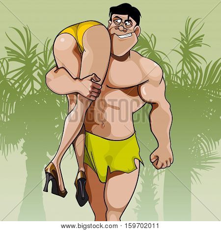 cartoon big man carrying woman on shoulder