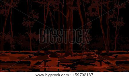 painted the background forest in the swamp at dusk