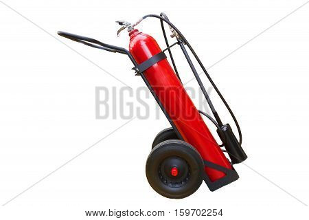Handwheel of fire extinguisher isolate on white background with clipping path