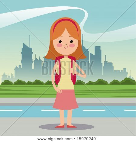 girl diadem bag urban background vector illustration eps 10