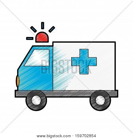 ambulance vehicle icon over white background. draw and sketch design. vector illustration