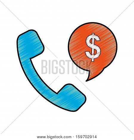 handset and speech bubble with money sign over white background. vector illustration