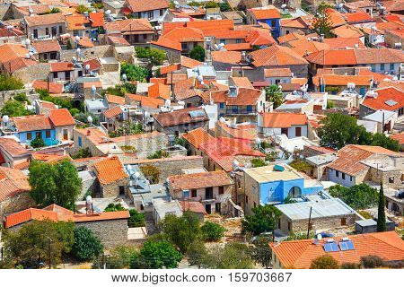 Panoramic view of Pano Lefkara village in Cyprus.