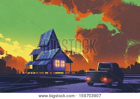rural scenery with old pickup truck and old house against colorful sky, illustration painting