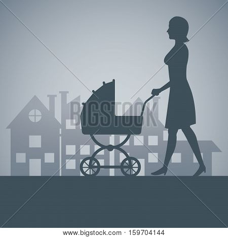 silhouette mother with carriage baby walking neighborhood background vector illustration eps 10