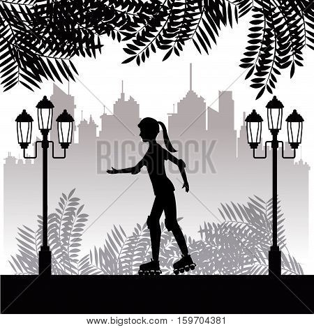 silhouette girl with roller skate park twon background