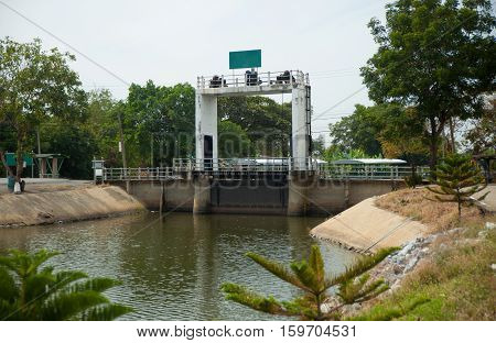 small floodgate on the canal in Thailand