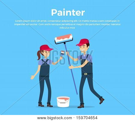 Painter concept vector. Flat design. Smiling couple, man and woman in protective clothing with brush and roller standing near a bucket of red paint. Repair room, housewarming, new home illustration.
